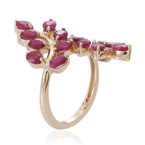 9K Y Gold Burmese Ruby (Ovl) Leaf Crossover Ring 3.500 Ct.