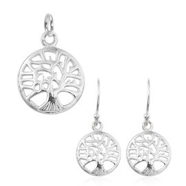 Sterling Silver Tree Pendant and Hook Earrings, Silver wt 3.51 Gms.