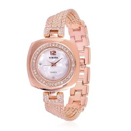 STRADA Japanese Movement White Austrian Crystal Studded White Dial Water Resistant Watch in Rose Gold Tone with Stainless Steel Back and Chain Strap