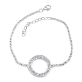 ELANZA AAA Simulated Diamond (Bgt) Circle of Life Bracelet (Size 6 to 8.5) in Rhodium Plated Sterling Silver