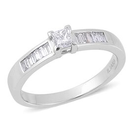 ILIANA 18K White Gold 0.50 Carat Princess Diamond Engagement Ring SI G-H IGI Certified