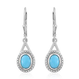 Arizona Sleeping Beauty Turquoise (Ovl) Lever Back Earrings in Platinum Overlay Sterling Silver 1.250 Ct.