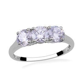 J Francis - Platinum Overlay Sterling Silver (Rnd) Trilogy Ring Made with SWAROVSKI ZIRCONIA 2.520 Ct.
