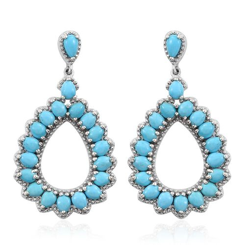 Designer Inspired- Sleeping Beauty Turquoise Platinum Overlay Sterling Silver Earrings (with Push Back) 5.370 Ct.