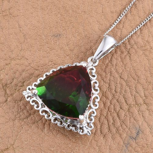 Bi-Color Tourmaline Quartz (Trl) Solitaire Pendant With Chain in Platinum Overlay Sterling Silver 10.000 Ct.