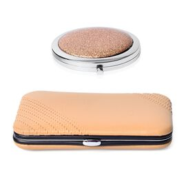 Beige Colour Minicare Kit (6 Pcs) and Champagne Colour Compact Mirror in Stainless Steel