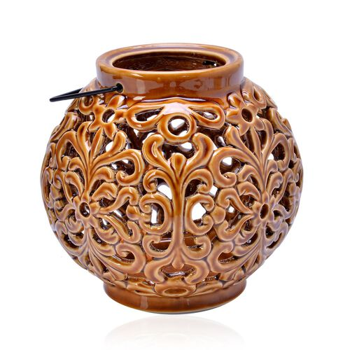 Hand Made Flower Pattern Chocolate Colour Ceramic Outdoor Candle Holder-Lantern