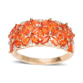 Close Out Deal 14K Y Gold AAAA Jalisco Fire Opal (Mrq), Diamond Ring 1.390 Ct. Gold Weight 3.40 Grams