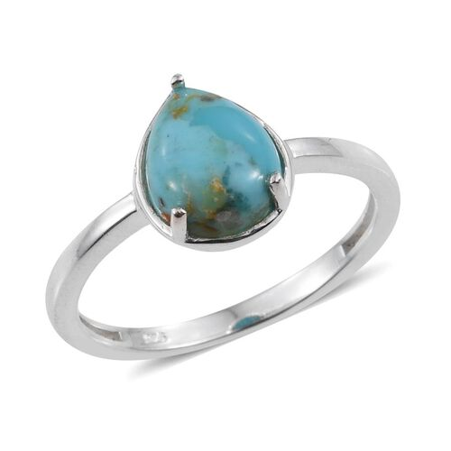 Arizona Matrix Turquoise (Pear) Solitaire Ring in Sterling Silver 1.750 Ct.