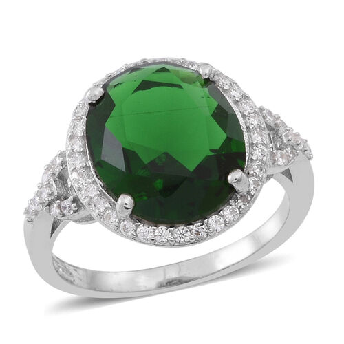 ELANZA AAA Simulated Green Tourmaline (Ovl), Simulated White Diamond Ring in Rhodium Plated Sterling Silver