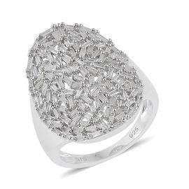Diamond (Bgt) Cluster Ring in Platinum Overlay Sterling Silver 1.500 Ct.
