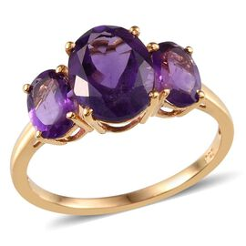 Amethyst (Ovl 2.25 Ct) 3 Stone Ring in 14K Gold Overlay Sterling Silver 3.750 Ct.