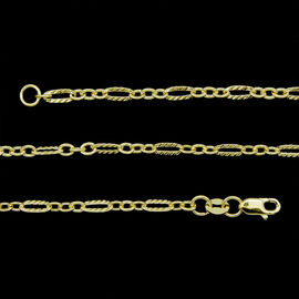 JCK Vegas Collection 9K Y Gold Figaro Chain (Size 36), Gold wt 4.17 Gms.