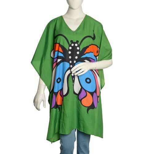 Multi Colour Butterfly Printed Green Colour Kaftan (Free Size)