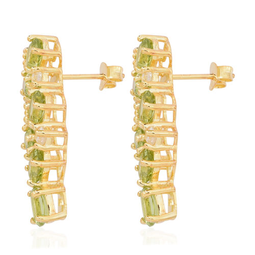 Designer Inspired- AAA Hebei Peridot (Ovl), Natural Cambodian White Zircon Earrings (with Push Back) in 14K Gold Overlay Sterling Silver 6.650 Ct.
