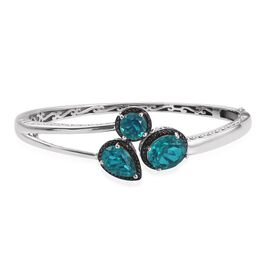Capri Blue Quartz (Ovl 5.25 Ct), Diamond Bangle (Size 7.5) in Platinum Overlay Sterling Silver 11.020 Ct.