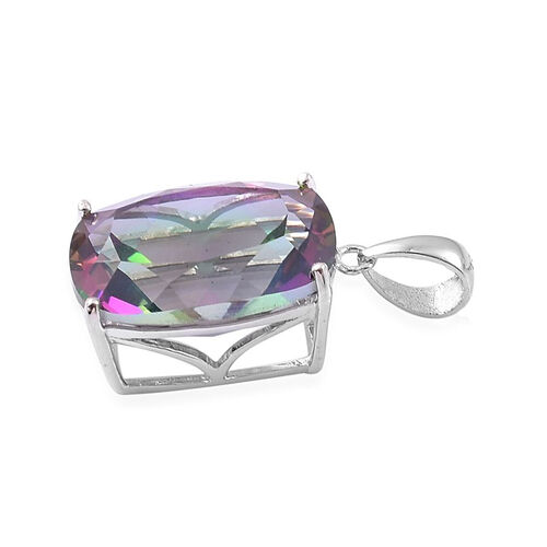Coated Mystic Topaz (Cush) Solitaire Pendant in Rhodium Plated Sterling Silver 9.500 Ct.