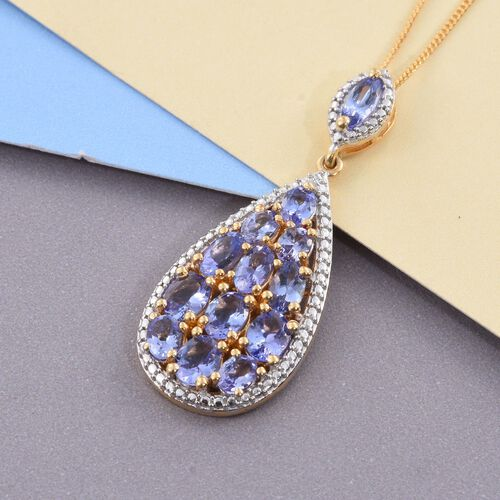 Tanzanite (Ovl) Pendant With Chain in 14K Gold Overlay Sterling Silver 3.000 Ct.