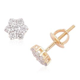 ILIANA 18K Y Gold IGI Certified Diamond (Rnd) (SI/G-H) Floral Stud Earrings (with Screw Back) 0.500 Ct.