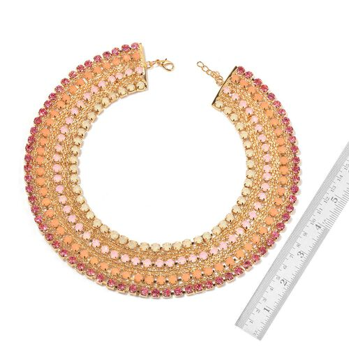 Pink Austrian Crystal and Simulated Stones Necklace (Size 18 with 2 inch Extender) in Gold Tone