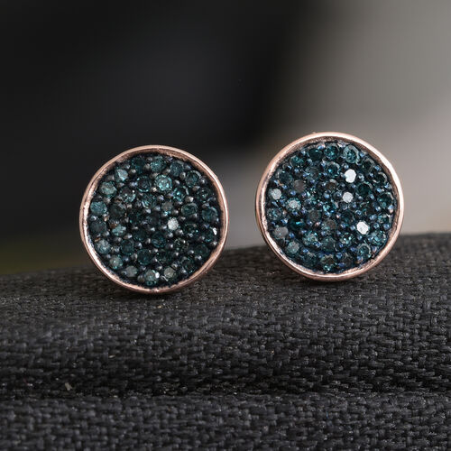 0.33 Carat Blue Diamond Stud Earrings (with Push Back) in Rose Gold Overlay Sterling Silver