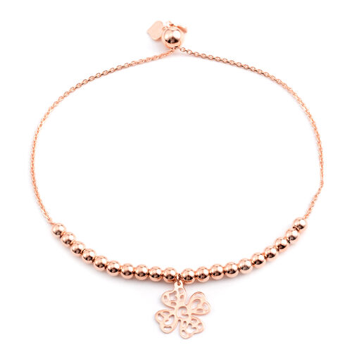 Rose Gold Overlay Sterling Silver Adjustable Four Leaf Clover Charm Beads Bracelet (Size 6 to 7.5), Silver wt 4.90 Gms.