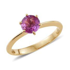 ILIANA 18K Yellow Gold 1 Carat Pink Sapphire Solitaire Ring