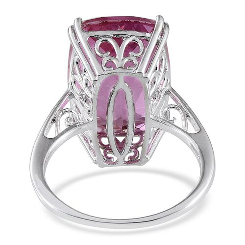 Kunzite Colour Quartz (Ovl) Ring in Platinum Overlay Sterling Silver 15.000 Ct.