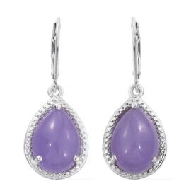 Purple Jade (Pear) Lever Back Earrings in Platinum Overlay Sterling Silver 13.250 Ct.