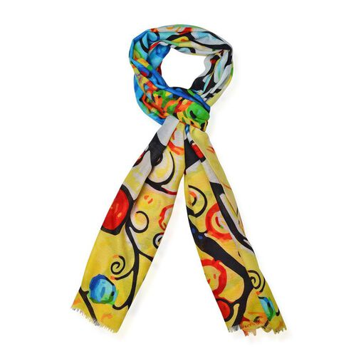 100%  Merino Wool  Black Tree Pattern Yellow and Multi Colour Scarf (size 180x70 Cm)