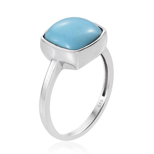 Arizona Sleeping Beauty Turquoise (Cush) Solitaire Ring in Platinum Overlay Sterling Silver 4.000 Ct.