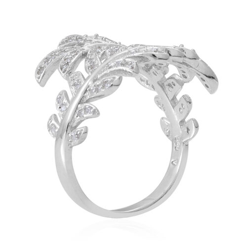 ELANZA  AAA Simulated White Diamond (Rnd) Leaves Crossover Ring in Rhodium Plated Sterling Silver
