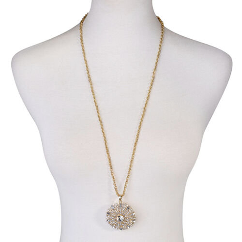 Close Out Deal White Austrian Crystal and White Glass Circle Pendant With Chain in Gold Tone