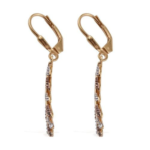 Natural Champagne Diamond, White Diamond 0.25 Carat Leaf Lever Back Earrings in Yellow Gold Overlay Sterling Silver.