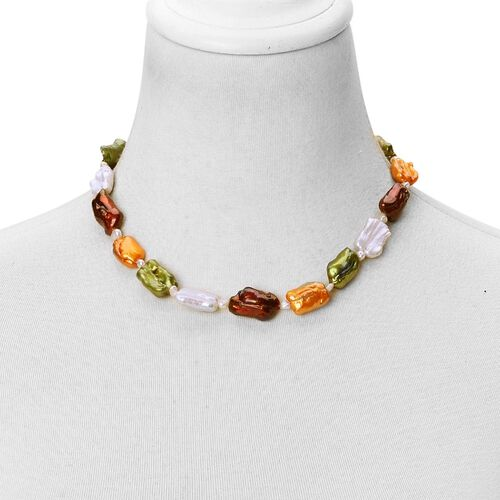 Designer Inspired Hand Crafted Keshi Pearl Multi Colour Pearl (10-16 mm) Necklace (Size 18) in Rhodium Plated Sterling Silver