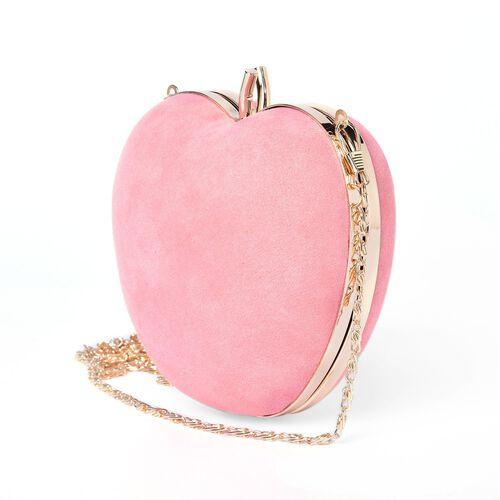 Amour Velvet Dusk Pink Colour Apple Clutch Bag With Removable Golden Chain (Size 15x14 Cm)
