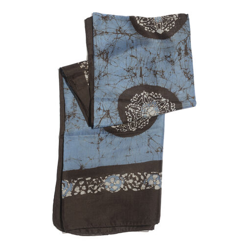100% Mulberry Silk Black and Blue Colour Printed Pareo (Size 180x100 Cm)
