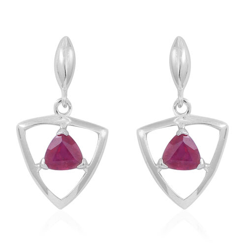 African Ruby (Trl) Earrings (with Push Back) in Sterling Silver 2.000 Ct.