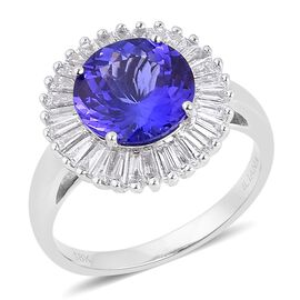 ILIANA 18K W Gold AAA Tanzanite (Rnd 3.50 Ct), Diamond Ring 4.250 Ct.