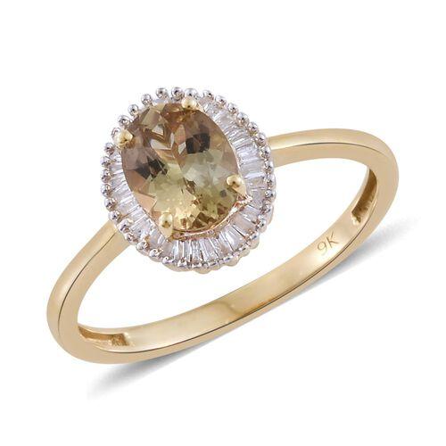 9K Yellow Gold 1.45 Ct AA Natural Yellow Tanzanite Halo Ring with Diamond