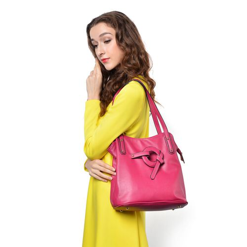 Fuchsia Colour Tote Bag (Size 30x29x13 Cm)