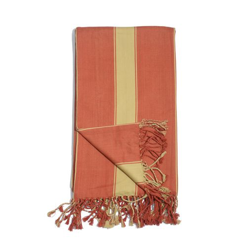 100% Cotton Red Colour Stripe Pattern Throw with Fringes (Size 240x150 Cm)