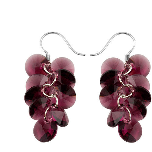 Made With Swarovski Elements Purple Sterling Silver Earring