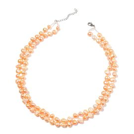 Fresh Water Peach Pearl and White Glass Necklace (Size 18 with 1.5 inch Extender) in Silver Tone 229.850 Ct.