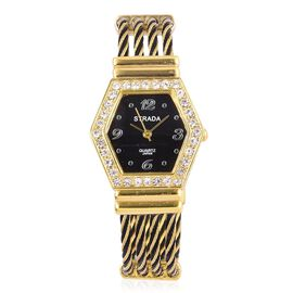 STRADA Japanese Movement White Austrian Crystal Black Dial Water Resistant Black Colour Bangle Watch in Gold Tone with Stainless Steel Back