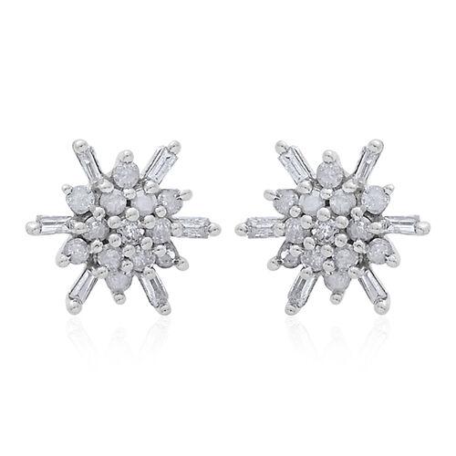 9K W Gold SGL Certified Diamond (Rnd) (I3/G-H) Starburst Stud Earrings (with Push Back) 0.250 Ct.