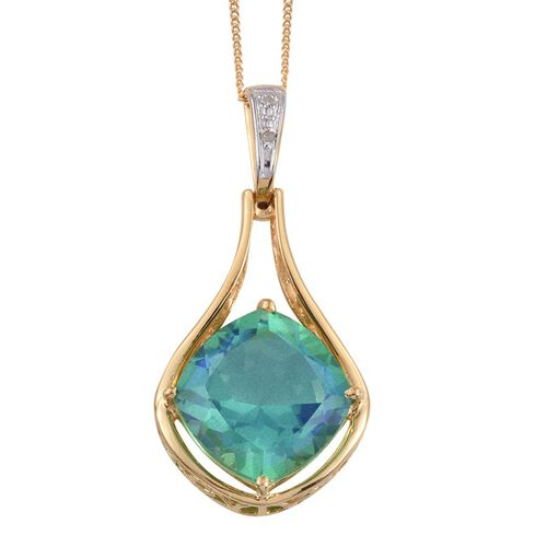 Peacock Quartz (Cush), Diamond Pendant with Chain in 14K Gold Overlay Sterling Silver 12.020 Ct.
