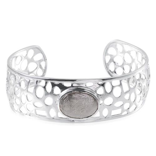 Meteorite (Ovl) Cuff Bangle (Size 7.5) in Platinum Overlay Sterling Silver 17.500 Ct.