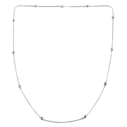 ELANZA AAA Simulated Diamond (Rnd) Station Necklace (Size 36) in Sterling Silver. Silver Wt 6.5 Gms