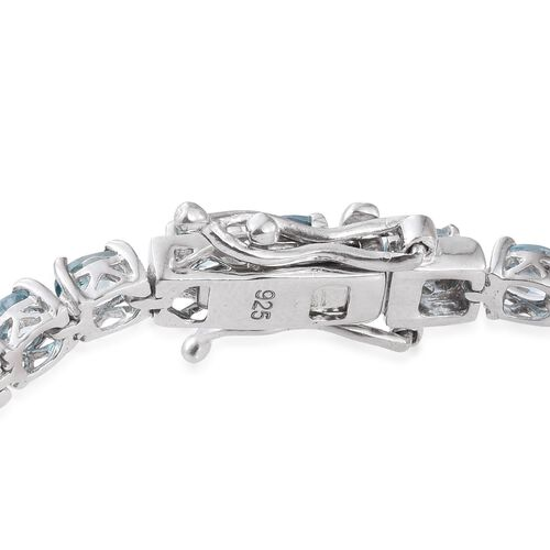 AA Natural Cambodian Blue Zircon (Ovl) Tennis Bracelet (Size 7.5) in Platinum Overlay Sterling Silver 10.000 Ct.